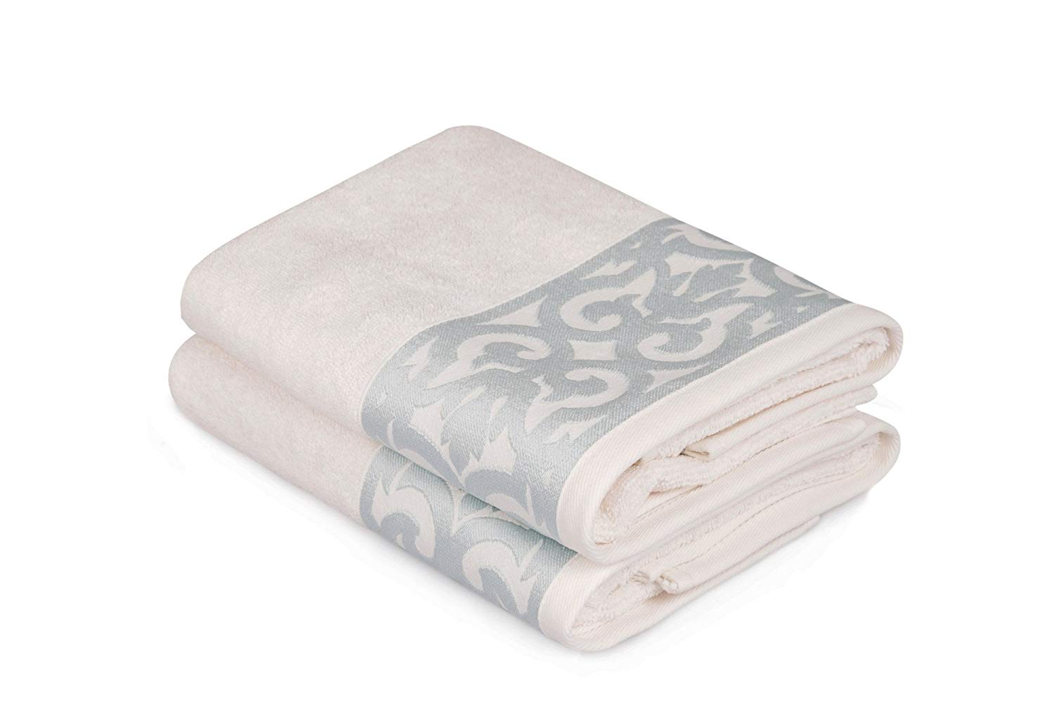 "LaModaHome 2 Pcs Hand Towel Set Premium Quality (19.7"" x 35.4"") 100% Cotton Hotel Quality/Motif Pattern Design Leaf Plant Grey And Cream/Soft Machine Washable Quick Dry Highly Absorbent"