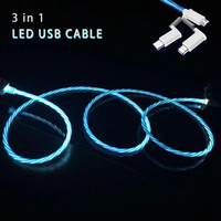 3 in 1 LED usb cable for iPhone apple micro Android type c custom fast charging data transfer 1m 1.5m 2m 3m 5m 10m 3ft 6ft 10ft