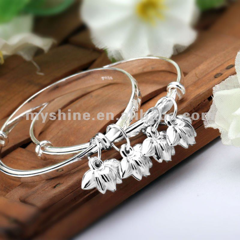fashion flower beaded bangles in 990 silver for girl kids
