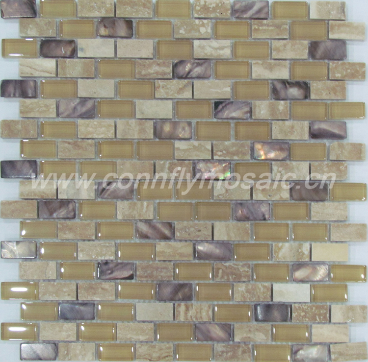 Mother of pearl shell mosaic mix glass marble tile(CFP075)
