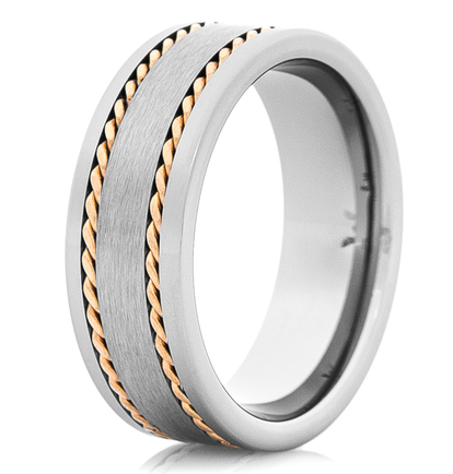 Two circle braids 14k gold rope inlaid men's tungsten wedding ring with matte facet
