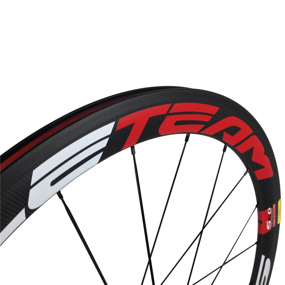 Smileteam 700c 50mm Road Clincher Carbon Wheels Bicycle Racing Carbon Wheels With Powerway R13 Hubs