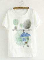 Summer garment loose round neck cotton ramie house printing shirts for ladies