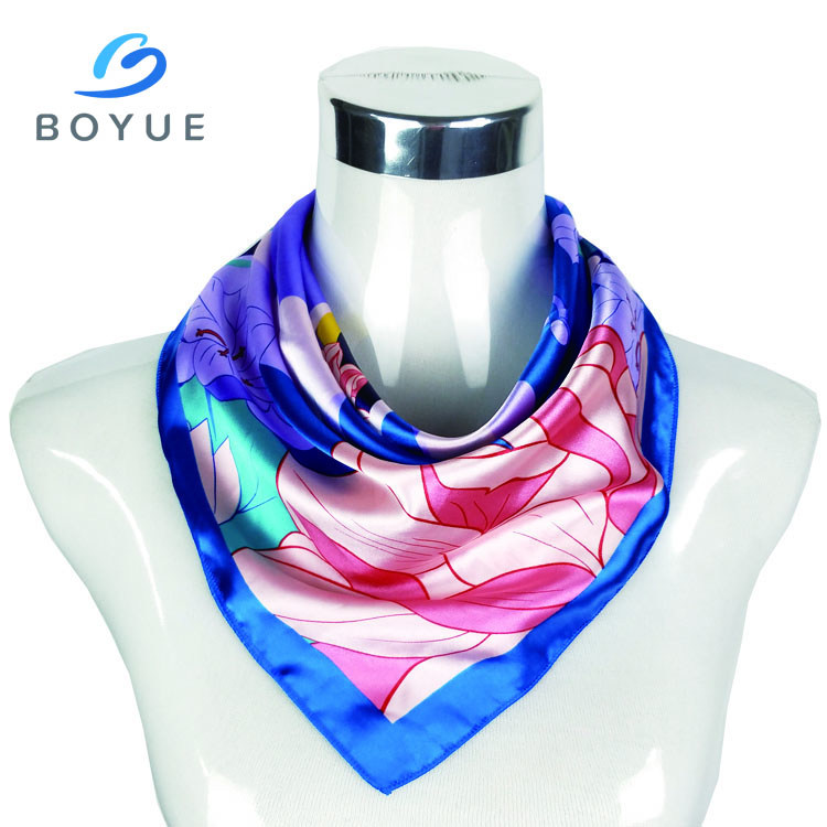 China manufacturer wholesale custom design digital logo print satin silk <strong>scarf</strong> for women