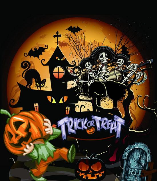 Attractive Halloween Theme Photography Backdrop Pumpkin