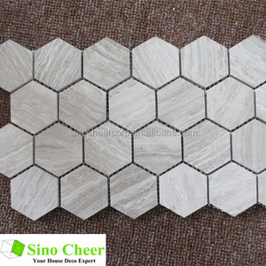 High Quality Hexagon Wood Grain Grey Marble Mosaic Tile Price