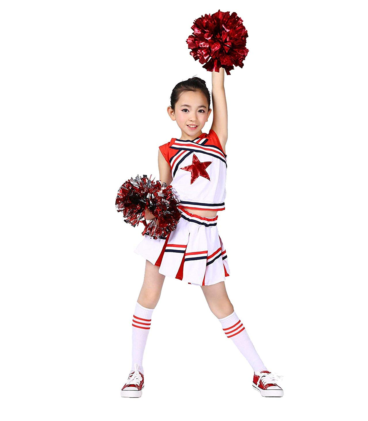 76e0095cc Get Quotations · Girls Cheerleader Uniform Costume Youth Red Star Cheer  Outfit Match Pompoms
