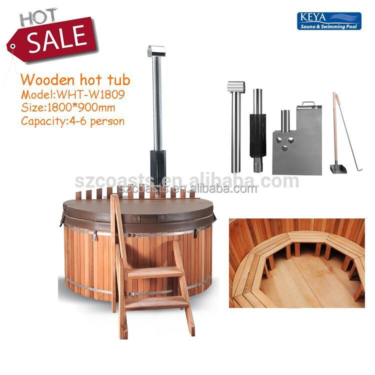 Hot sale healthy 3-4 person outdoor round wood hot tub
