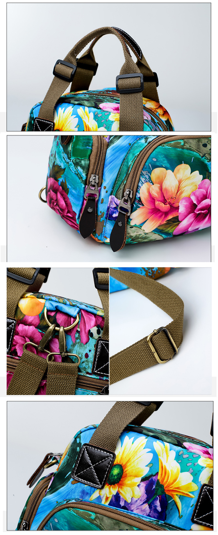 Osgoodway2 Waterproof Nylon Designer Floral Women Handbags Baby Diaper Bag Backpack for Mom