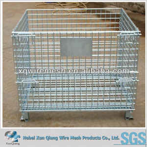 Folding Wire Mesh Containers/ Stackable Storage Cage/ Metal Basket