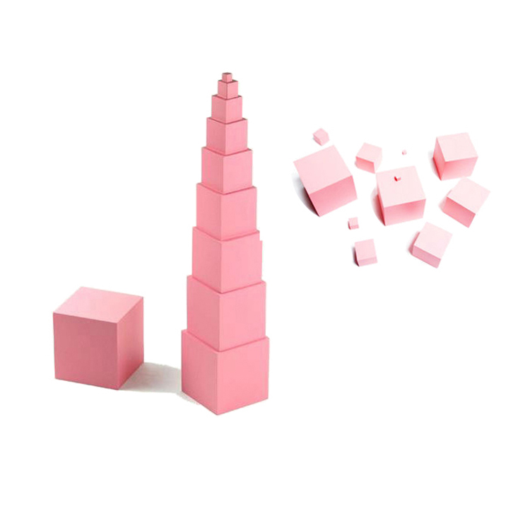 Preschool Montessori Material Educational Wooden Toys Sensorial Pink Tower For Kids