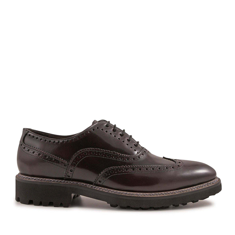 LEONARDO SHOES Men's 4768SPAZZOLATOBORDEAUX Burgundy Leather Lace-up Shoes