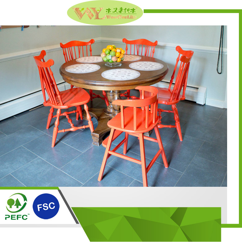High Quality Village Style Dining Table and Chairs Antique Wooden Dining Table Set