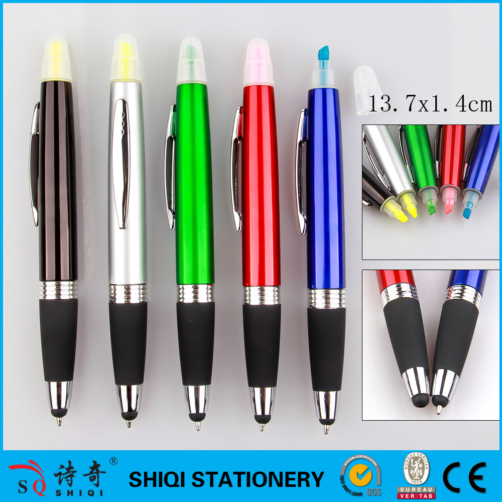 Multi function highlighter stylus ballpoint combo pen