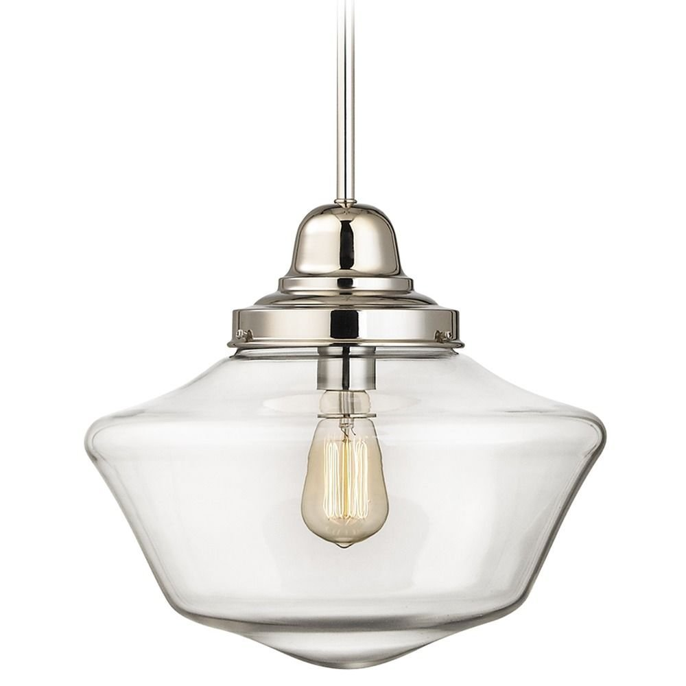 Get Quotations 14 Inch Polished Nickel Clear Gl Schoolhouse Pendant Light