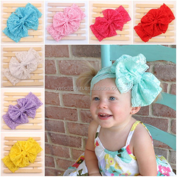 New coming Floppy Big lace Bow Headband for baby head wrap top Knot lace  Headband kids 4a80183b5e4