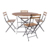 Outdoor Garden Metal Wood French Folding Bistro Round Table Set