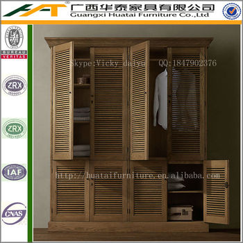 Oak Wardrobe Solid Wood Cabinet Retro Narrow Armoire Wardrobe Furniture