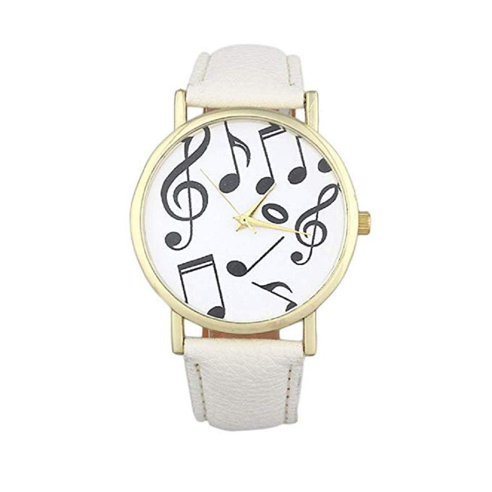 Women's Quartz Watches, Windoson Musical Notes Pattern Unique Analog Fashion Clearance Lady Watches Female Watches Casual Wrist Watches for Women Comfortable Faux Leather Watch (White)