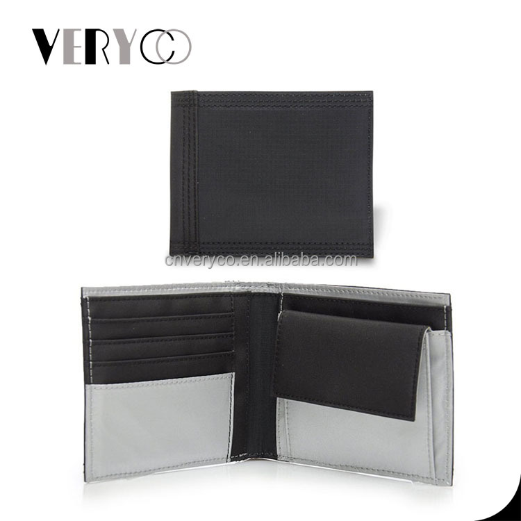 Black Men Nylon Fabric Wallet with Card Holder Coin Pocket
