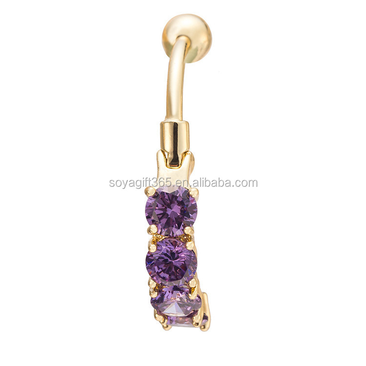 New Multicolor Zircon Platinum Navel Belly Ring 4 Round Jewelry