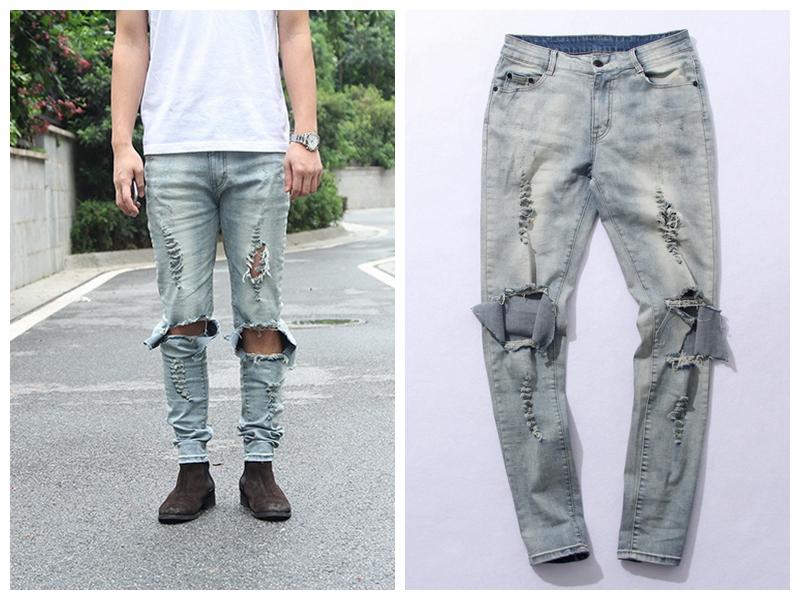 Buy Mens ripped biker jeans skinny black distressed kanye ...