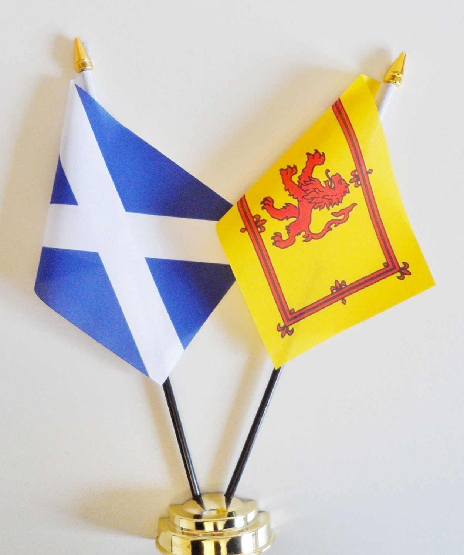 "Scotland Navy Blue & Scotland Lion Rampant Friendship Table Flag Display 25cm (10"")s"