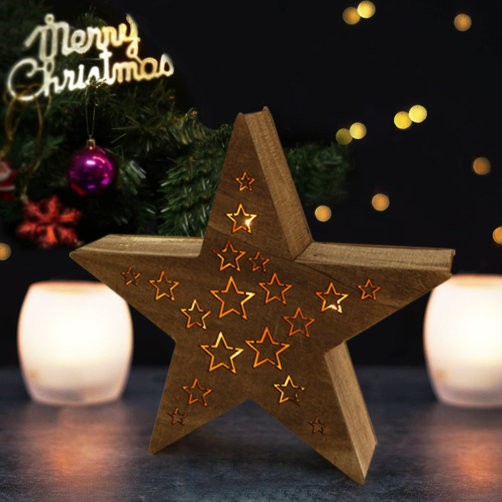 """Bright Zeal Wooden Marquee Star Light Signs for Christmas Decorations (14.5"""" Tall, 8hr Timer) - LED Lighted Star Battery Operated for Xmas Decor"""