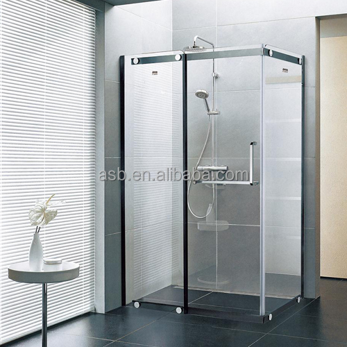 freestanding black 8mm Tempered Glass walk-in shower door