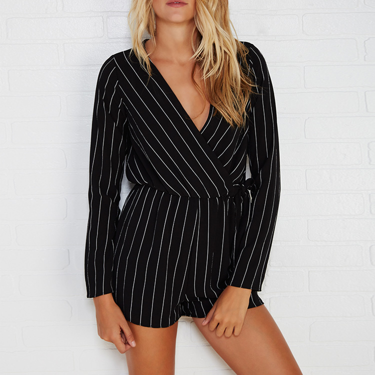 6895be66cde0 Fashion Women Jumpsuit Black Striped Rompers Long Sleeve Surplice Rompers