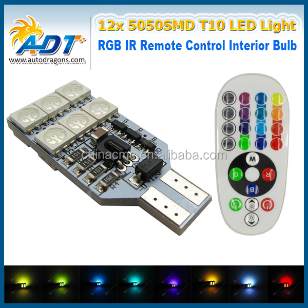 Canbus No Error LED Dome Light T10 168 194 W5W LED Interior Lamp Car Parts RGB IR Remote Control Ceiling Bulb