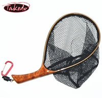 TAKEDO Fly Fishing Landing Net Soft Rubber Mesh Trout Net Waterproof Cinnamomum camphora Wooden Handle Catch and Release Net