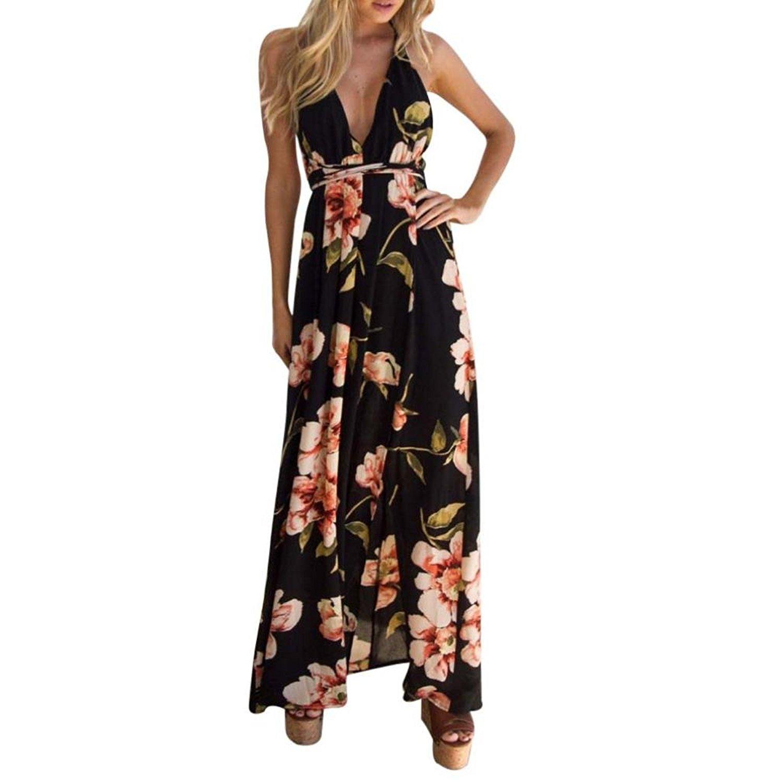 Long Dress,Women's Sexy Deep V Neck Backless Floral Print Split Maxi Party Dress