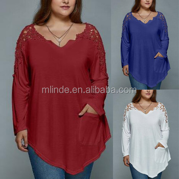 4ce4700a7b5d4 women boutique clothes Plus Size Lace Spliced Asymmetric T-Shirt fat women  lace dress Blouses