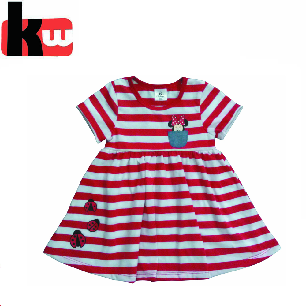 Yarn Dyed Stripes Cheap Children's Clothing from China Baby Girls cotton Dresses