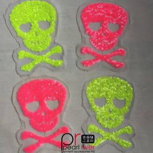 China manufacturer wholesale clothes human skeleton sequin of fluorescent patches for kids dress