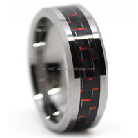 Tungsten Carbide Mens Ring With Red Tinted Carbon Fiber
