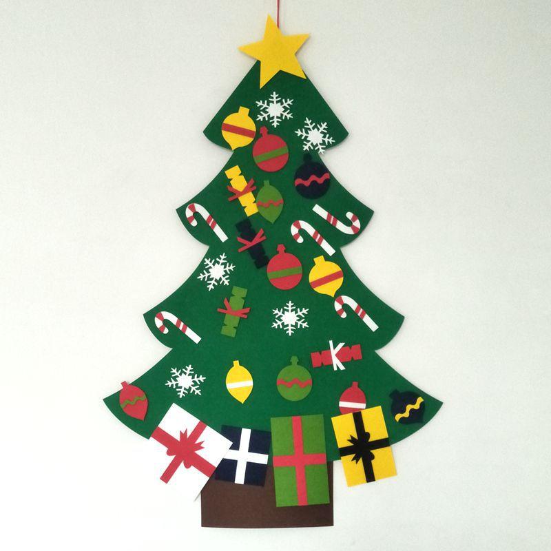 Presentes de natal Decoração DIY Sentiu Árvore De Natal De Parede Com Ornamento Set Para As Crianças