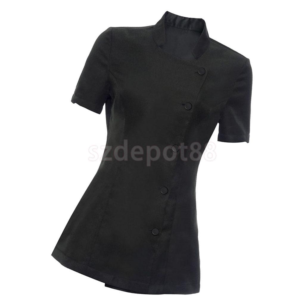 3838ea628b30cd Set of 2 Pieces Women Ladies Salon Spa Beauty Beautician Hairdressers Nails  Workwear Short Sleeve Black
