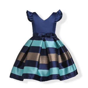 Hao Baby Girls Dress A Little On The Sleeve Of Horizontal Stripes Cuhk Children Princess Dress