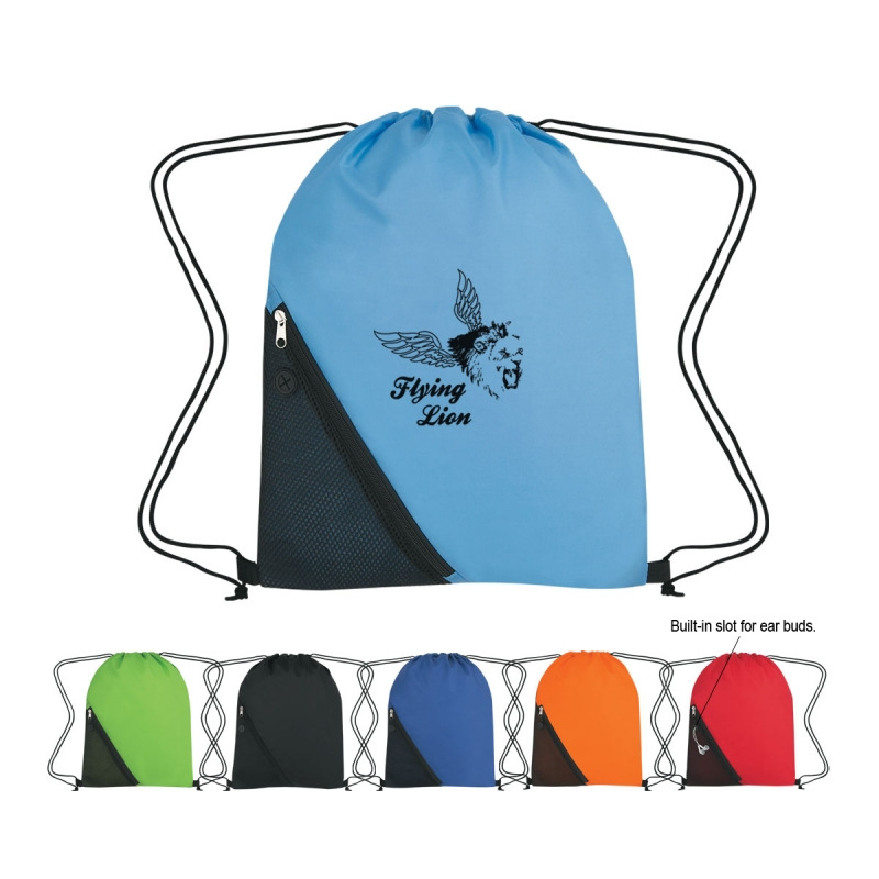Promo waterproof Sports Drawstring Backpack With Outside Mesh Pocket