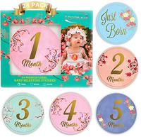 High Quality Pregnancy Baby Boy Month 1-12 Monthly Milestone Baby Stickers, Baby Monthly Milestone Stickers