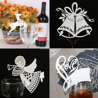 Christmas Decorations 20pcs Champagne Wine Glass Decor Paperboard Holiday Party