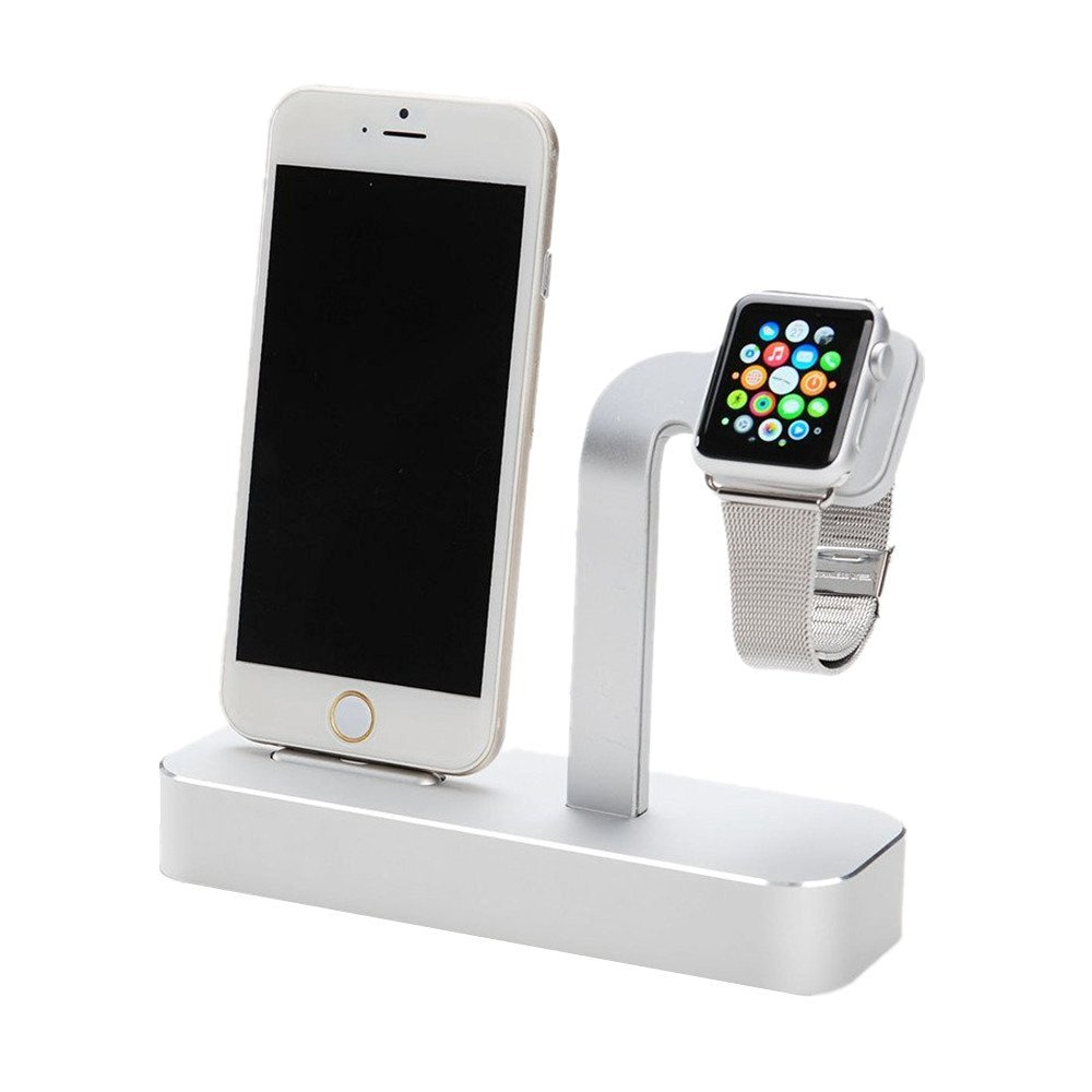 Taotree Apple Watch & iPhone Stand, 2 in 1 Aluminum Desk Charging Station, Apple Watch Charging Stand Cradle Holder Dock for iWatch 38mm/42mm, Premium Charging Stand for iPhone (Silver)
