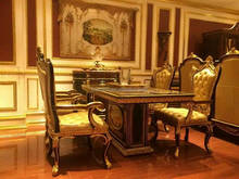 Noble Design Imperial Rectangular Dinner Table & Chairs, Luxury Wood Carved Pedestal Dinning Table, Royal Furniture Dinning Set
