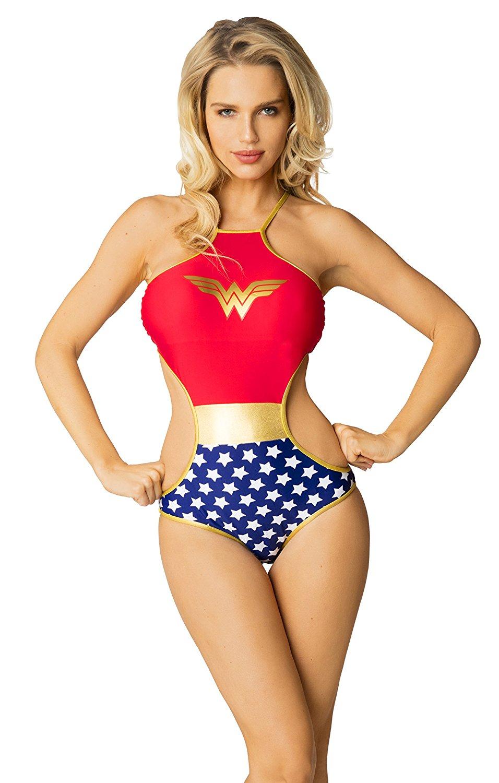 96f9ec3c557 Get Quotations · DC Comics Wonder Woman High Neck Cross Back Sexy One Piece  Monokini Bathing Suit