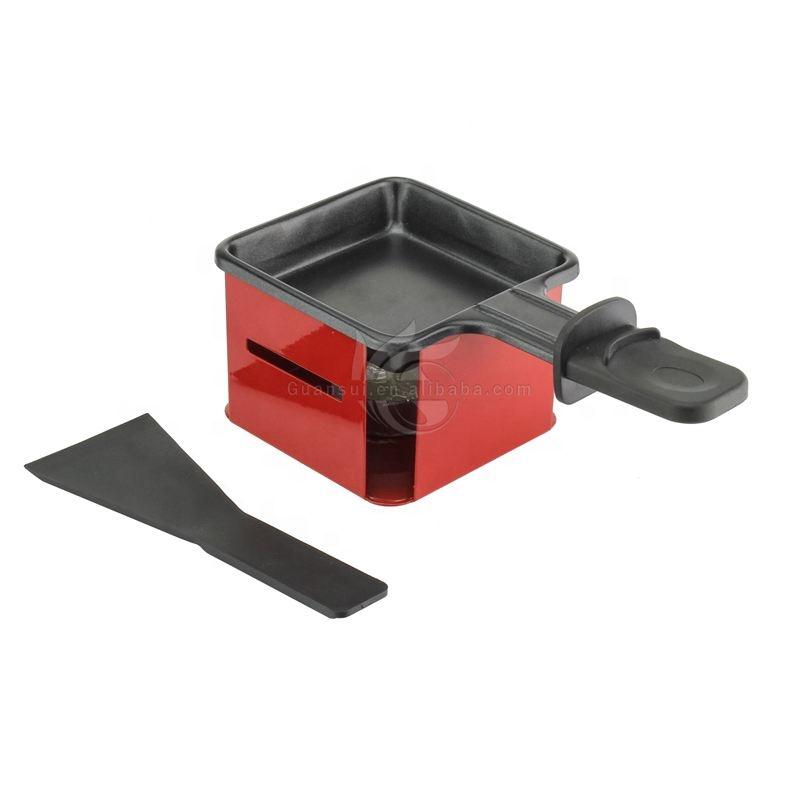 Katlanabilir Kolu Peynir Spatula Yapışmaz Kırmızı Kare Mini Peynir Erime Pan Raclette Izgara Seti