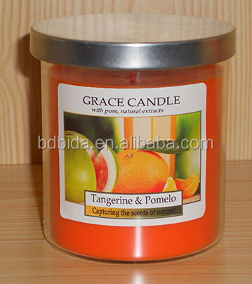 Gift paraffin wax candle in clear glass jar, scent or unscented, color candle for house using