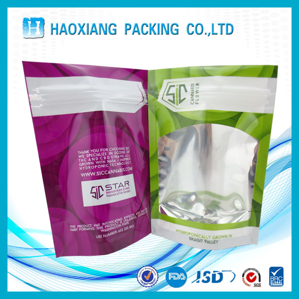 Food grade Clear plastic zipper bag with tear notch / ziplock stand up pouch wholesale