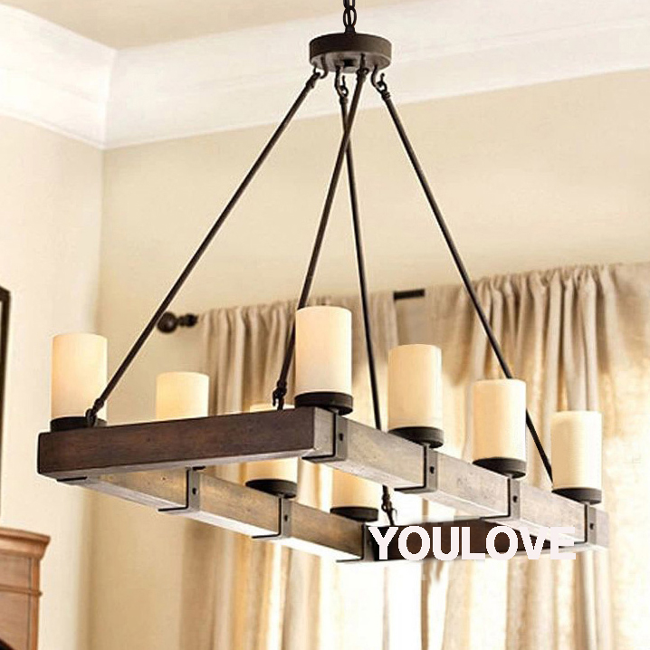Wood Chandeliers For Dining Room: American Country Vintage Pendant Lights Fixture Rectangle